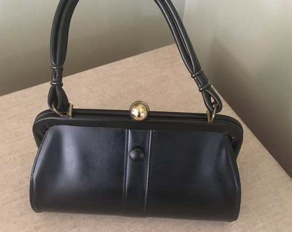 1950's Adorable Mid Century Black Vinyl Handbag with Button Accent Top Closure and Inside Zipper Pocket