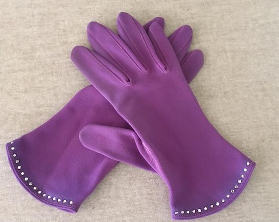 1950s Glamour Purple Rhinestone Cotton Gloves Size 7