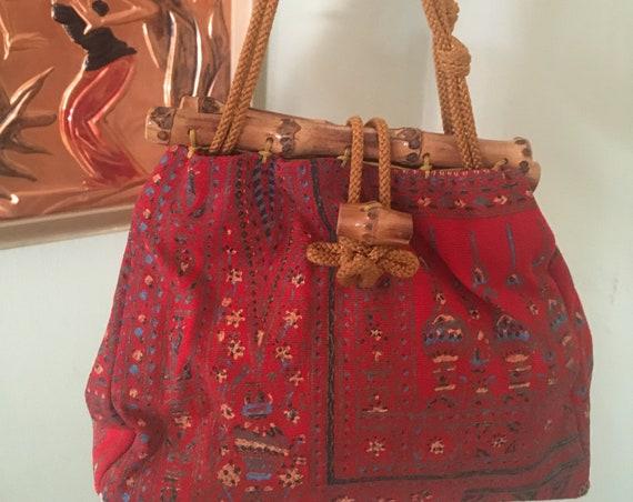 1940s Rare Red Lantern Novelty Print Handbag with Bamboo Top and Toggle