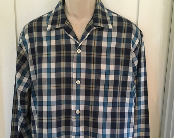 1950s Dura Press Blue and Gray Plaid Long Sleeve Shirt with Patch Pocket-L 16 16.5