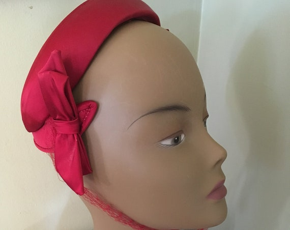 1940s Glamour Red Satin Hat with Side Bows and Net Ties with Rhinestone Accent