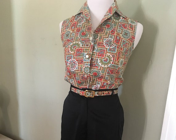 1950s Short Stuff by Wolfson Three Piece Outfit Sleeveless Turquoise Red Top with Black Cuffed Capris and Matching Belt-XS