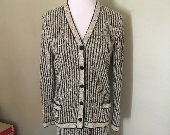 1950s Fashionable MS KIPPS Set- Black and Gray Striped Knit Cardigan Sweater and Matching Knit Skirt-S M