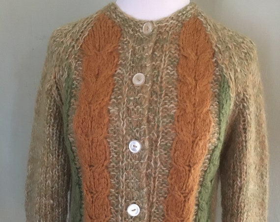 1960's Filor Knit Cozy Orange and Green Mohair Blend Cardigan Sweater-Made in Italy-M