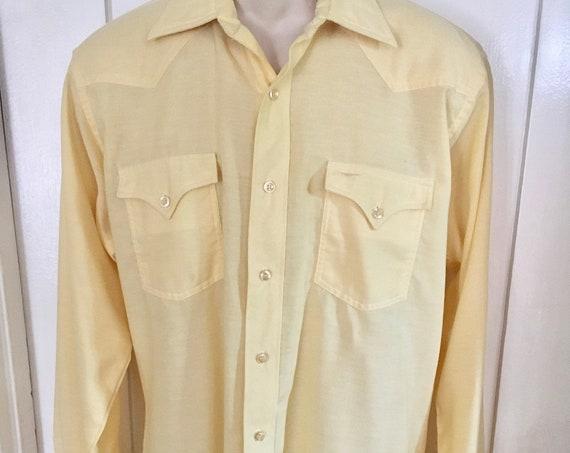 1960s H BAR C Ranchwear Permanent Press Yellow Long Tail Long Sleeve Western Shirt- Size 16 34