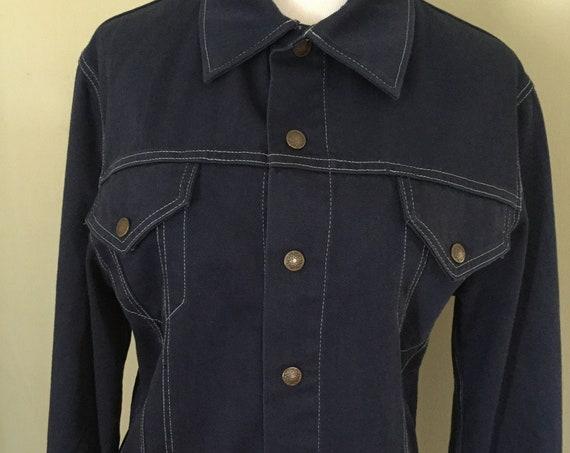 1960s Triple L Brand Dark Blue Snap Front Cotton Denim Jacket-S