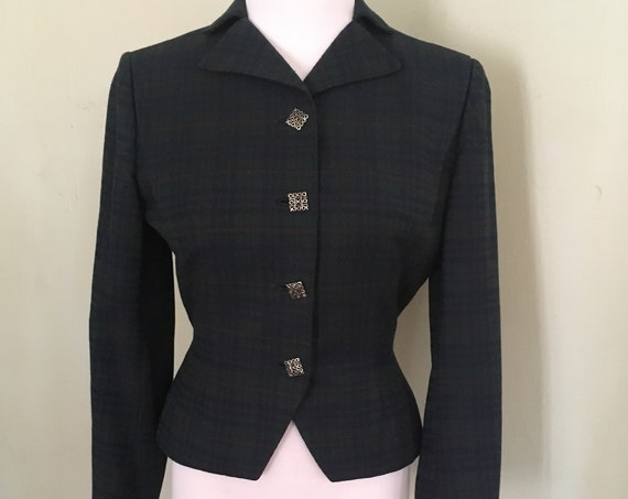 1950s Classic Urban Suburban by Moordale Fitted Tartan Plaid Blazer Jacket Fully Lined-XS S