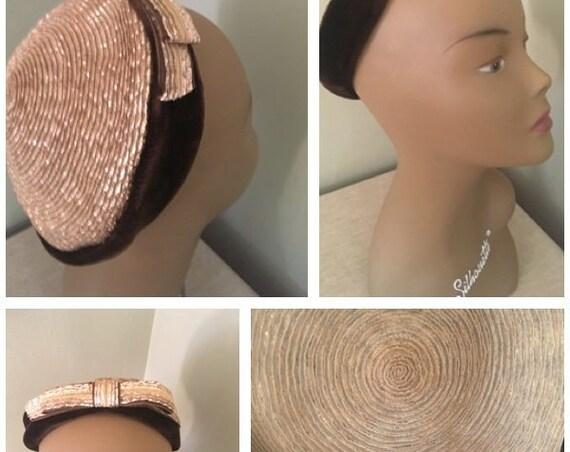 1950s VALERIE MODES Glamorous Gold Straw and Brown Velvet Hat-Size 22