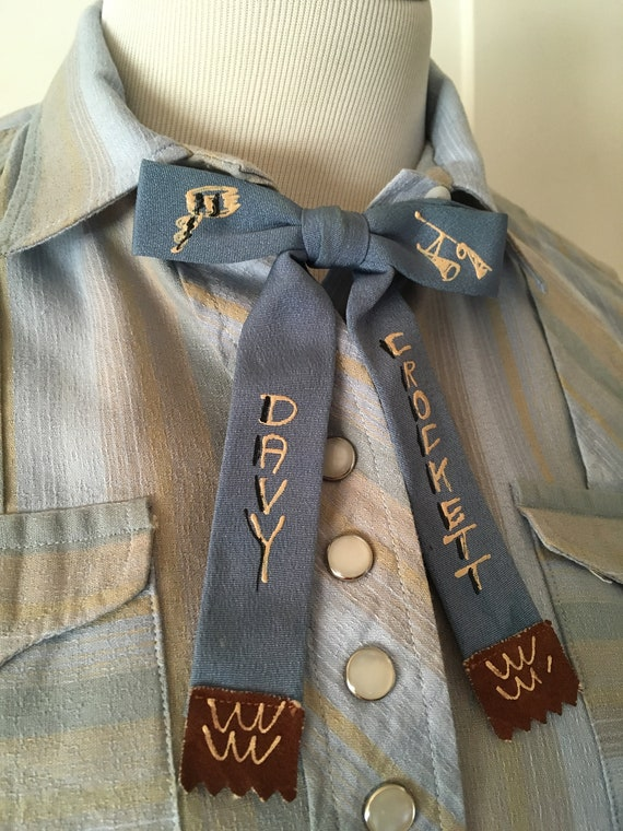 1950s DAVY CROCKETT Western Clip Bow Tie Hand Painted with Suede Leather Tips by Ormond NYC