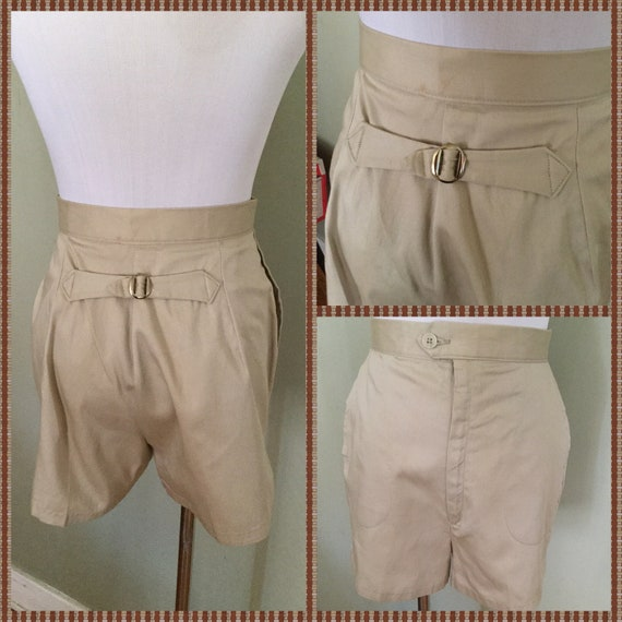 """1950s Adorable Buckle Back High Waist Tan Cotton Shorts with Pockets-25"""" W-NOS"""