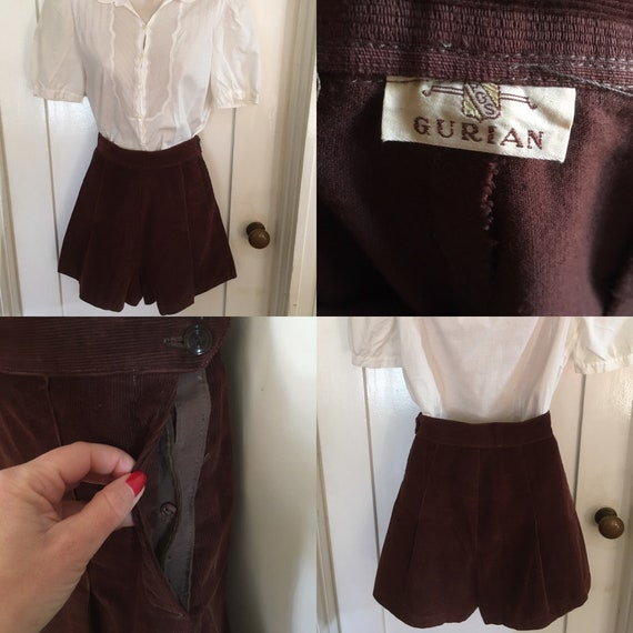"1940s Adorable Gurian High Waist Dark Brown Corduroy Shorts with Side Button Closure- 24"" Waist"