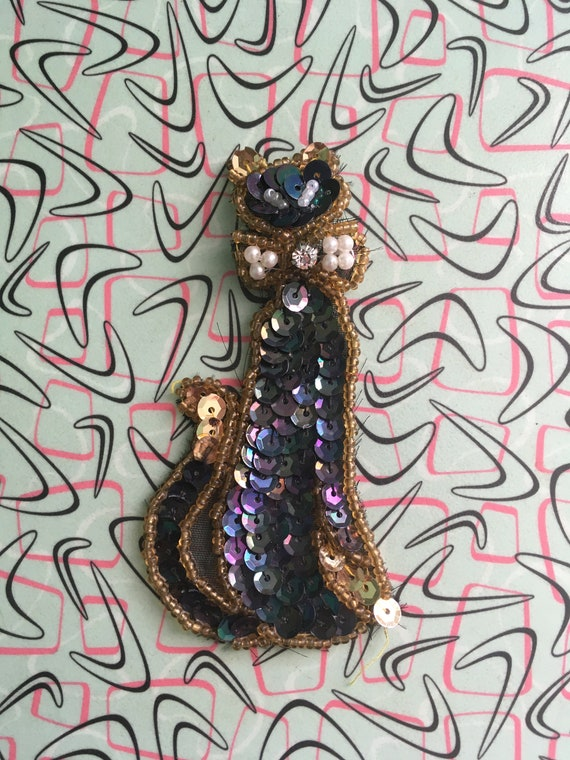 1950's Atomic Kitty Cat Large Sequin Applique Pin Brooch