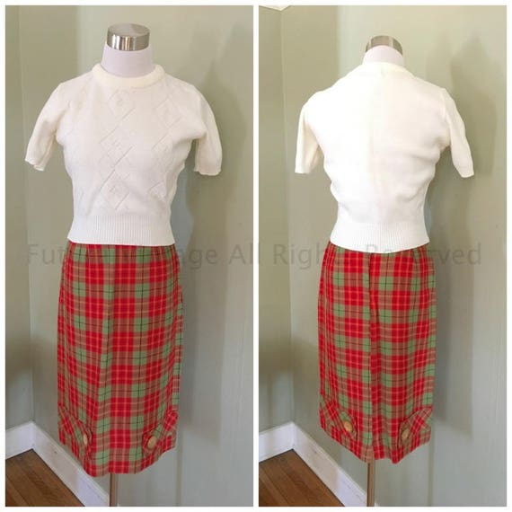 """1950s Ultimate Red and Green Plaid High Waist Wiggle Skirt with Belt Loops and Button Detail- 24"""" Waist"""