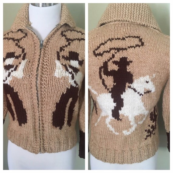 1950s Amazing Cowboy Rodeo Zip Up Shawl Collar Cardigan Sweater XS