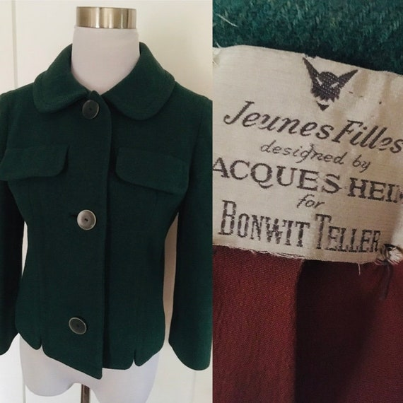 1930s 1940s Classic Jacques Heim for Bonwit Teller Forest Green Juniors Wool Fitted Blazer-XS