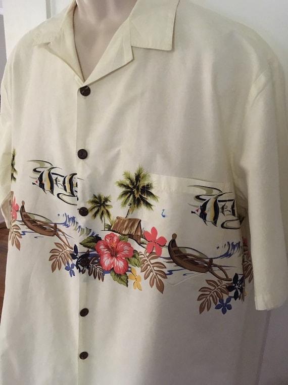 Vintage HILO HATTIES Hawaiian  Tiki Luau Shirt Fish Canoes Palm Trees-XL-Made in Hawaii