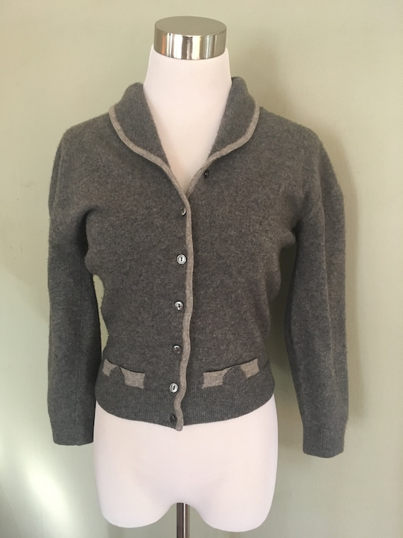1950s DALTON Pure Cashmere Gray Cardigan Button Down Sweater with Rolled Collar and Faux Pockets- XS S
