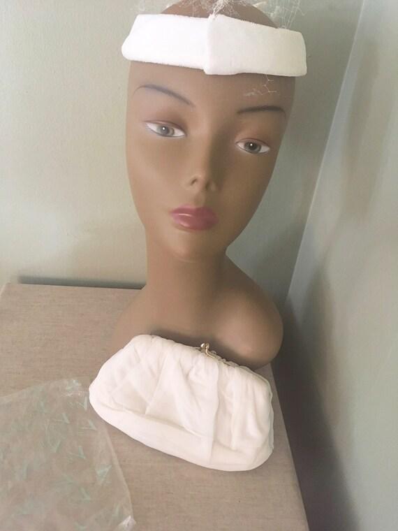 1960s HL White Chiffon Prom Wedding Handbag Clutch with Original Packaging