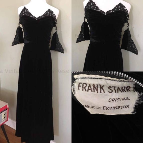 1940s True Glamour Frank Starr Gorgeous Black Velvet Strapless Gown with Off The Shoulder Lace Straps-XS