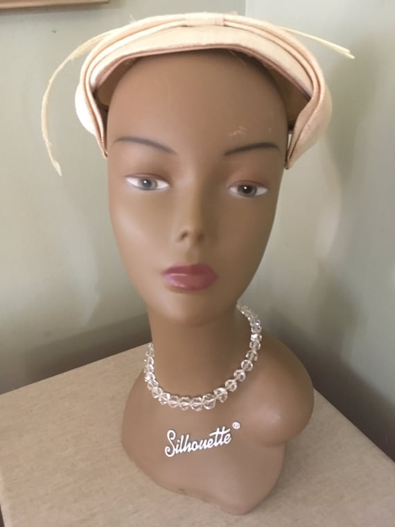 1950's Clear Glass Beaded Ascending Choker Necklace with Adjustable Rhinestone Hook