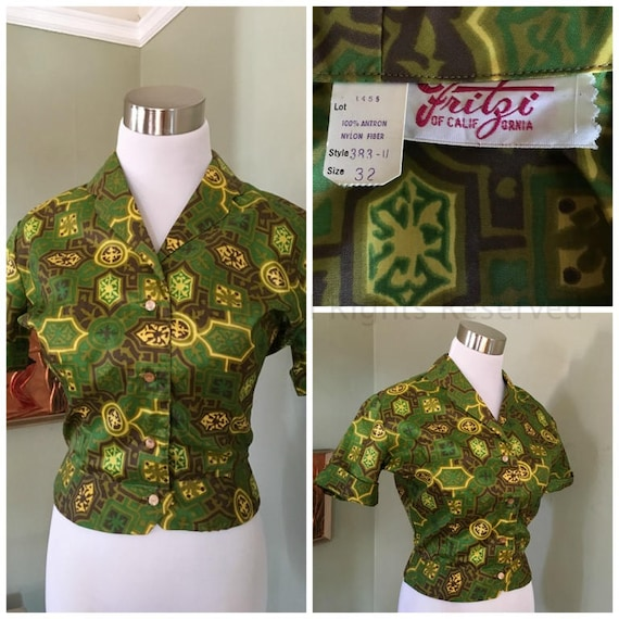 1950s FRITZI of California Stunning Green and Gold Button Front Short Sleeve Blouse-NWT-XS S
