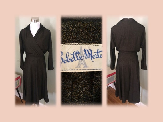 1950s 1960s  BOBETTE MORTON Stylish Two Piece Brown and Black Matching Outfit-S