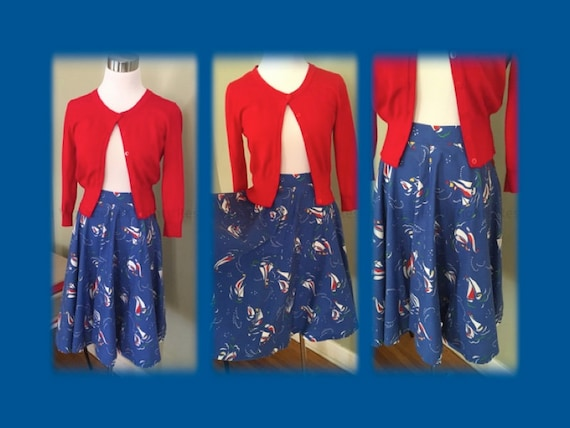 1960s Adorable Nautical Sailboat Skirt Leon B. Rosenblatt Textiles Ltd.-XS S