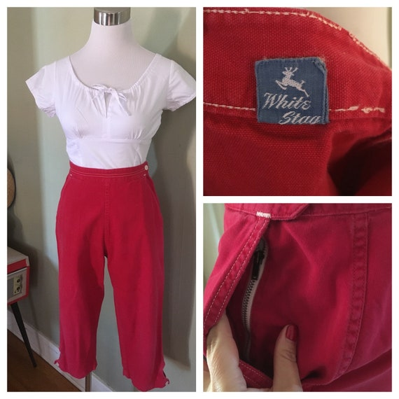 """1950s Nautical White Stag Red & White High Waist Capris with Pockets and Hidden Zipper-Waist 25""""-Small"""