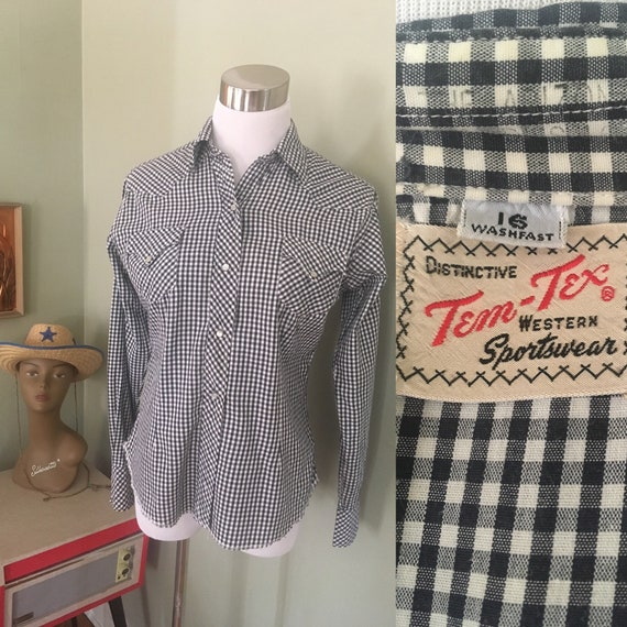 "1950s Distinctive Tem Tex Western Sportswear Black and White Gingham Long Sleeve Pearl Snap Fitted Shirt-36"" Bust"