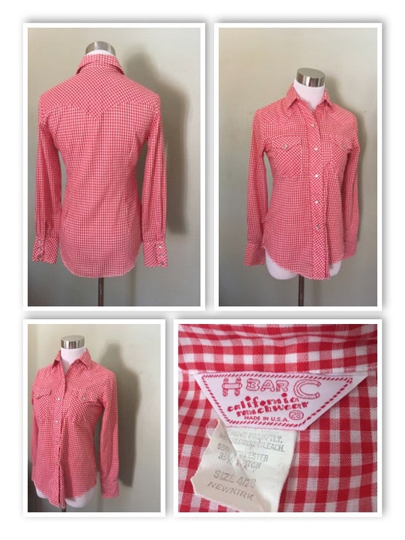1970s H BAR C California Ranchwear Red and White Gingham Long Sleeve Pearl Snap Western Wear Cowgirl Shirt-XS S