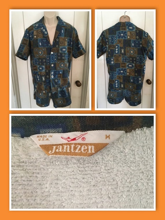 1950s 1960s JANTZEN Mens Two Piece Cabana Swimsuit Outfit Tiki Tribal Shirt and Matching Swim Shorts-Sz M