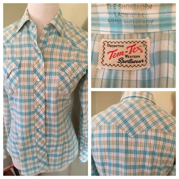 """1960s Distinctive TEM TEX The Shorthorn Fitted Blue & Tan Plaid Western Sportswear Long Sleeve Pearl Snap Cowgirl Shirt-34"""" Bust"""