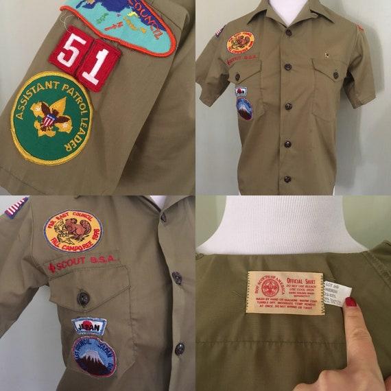 1970s Troop 51 Boy Scouts of America Far East Council Japan Short Sleeve Button Front Shirt-Boys Medium