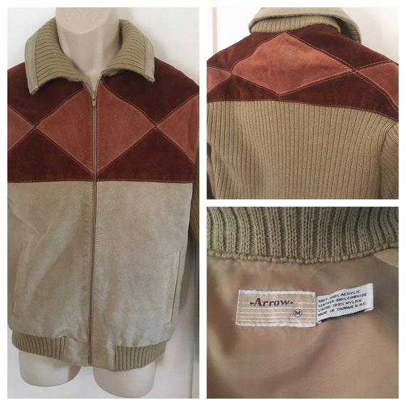1960s ARROW Two Tone Brown Tan Suede Leather Zip Up Jacket with Knit Sleeves Collar and Waist-M