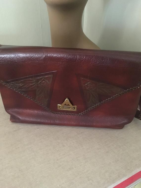 1950s Lovely MEEKER Dark Brown Genuine Steerhide Leather Purse with Adjustable Strap