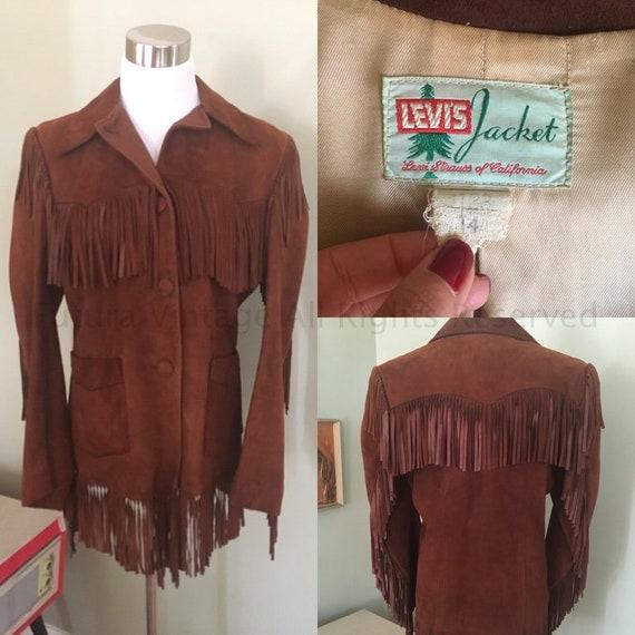 1950s Amazing LEVIS JACKET Big E Western Wear Dark Brown Suede Leather Fringe Cowgirl Jacket-S
