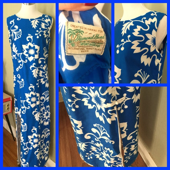 1960s DIAMOND HEAD Hawaiian Sportswear Blue & White Floral Maxi Dress with Side Openings-S M