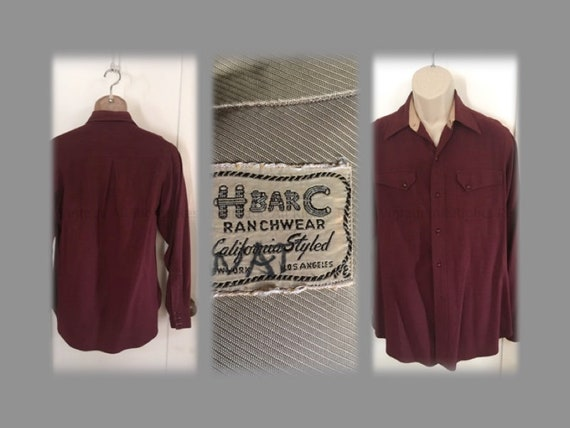 "1940s 1950s H BAR C Ranchwear California Styled Burgundy Wool Long Sleeve Shirt-S 42"" chest"