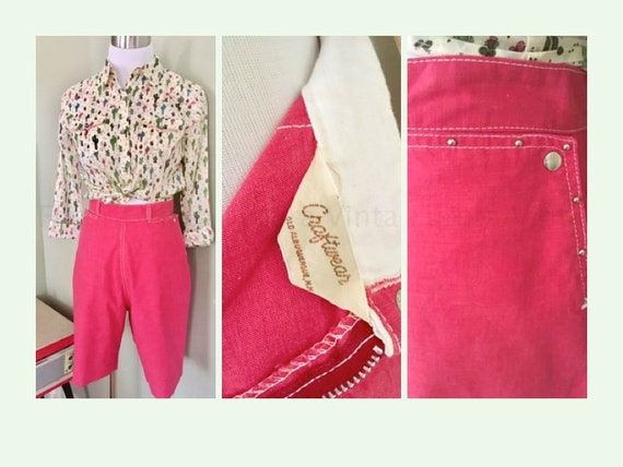 "1950s CRAFTWEAR Western Wear High Waist Pink Cotton Bermuda Shorts Studded Accent with Snap Pockets-S 26"" Waist"