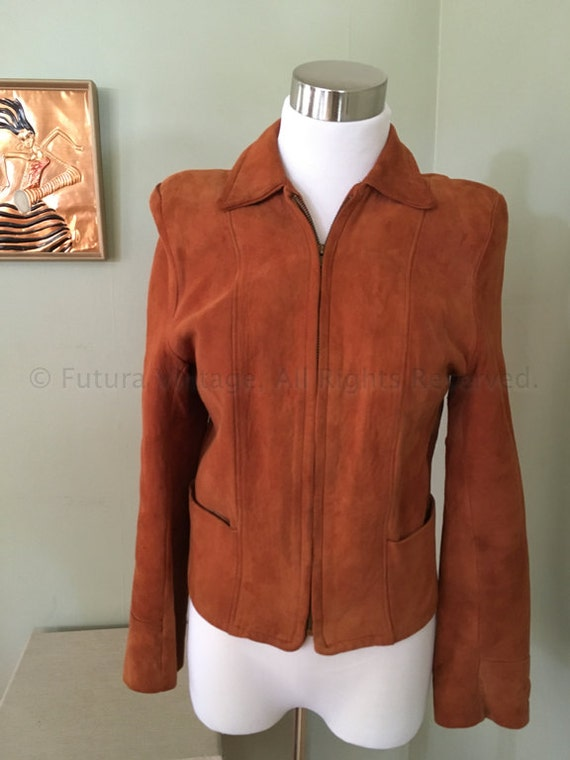 1950s Womens Brown Soft Suede Leather Jacket with Zipper Front and Two Front Pockets-XS S