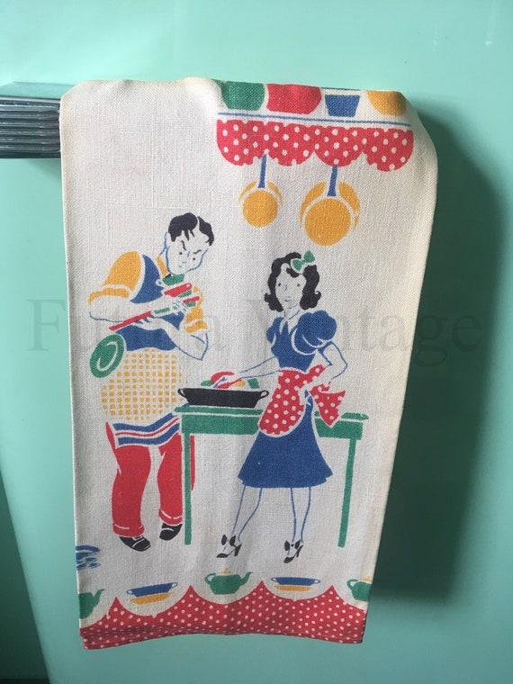 1930s Adorable Novelty Print Kitsch Kitchen Towel