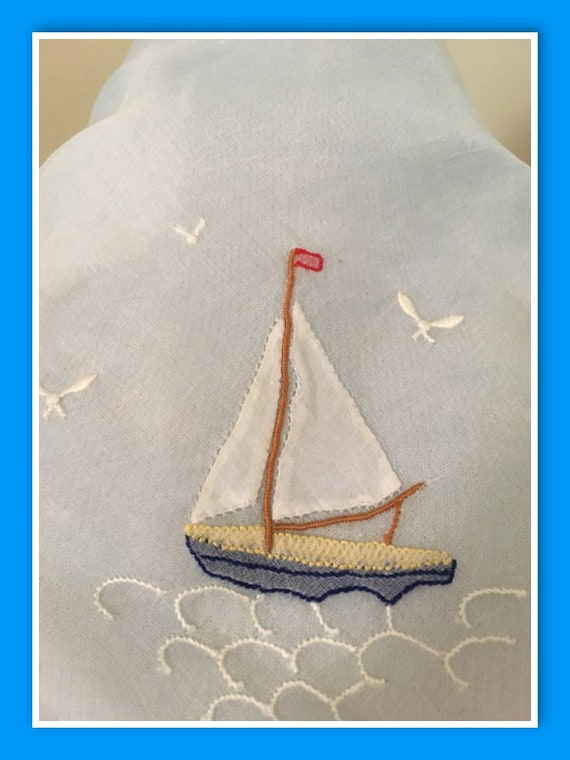 1950s 1960s Adorable Nautical Themed Baby Blue Chiffon Tie Scarf with Sailboat and Seagulls