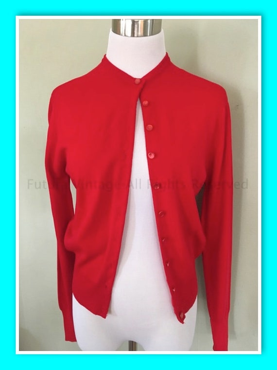 1960s KERRYBROOKE SEARS Cherry Red Cardigan Knit Sweater-S