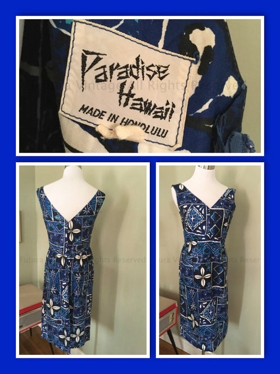 1960s PARADISE HAWAII Blue & White Floral Sleeveless V Neck Cotton Hawaiian Dress with Pocket-S