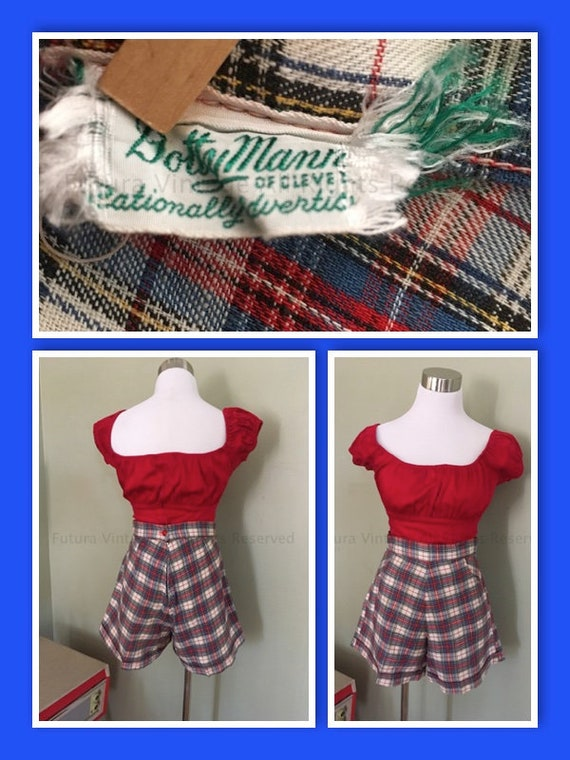 "Early 1950's Dotty Mann of Cleveland High Waist Red White and Blue Plaid Cuffed Shorts with Front Pockets S 27""W"