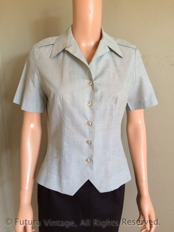 1950s 1960s Ladies Army Issued Fitted Short Sleeve Dress Shirt-S