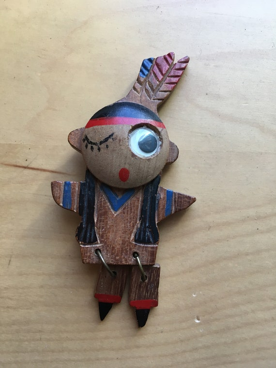 1940s Carved Wooden American Indian Girl Hand Painted Pin