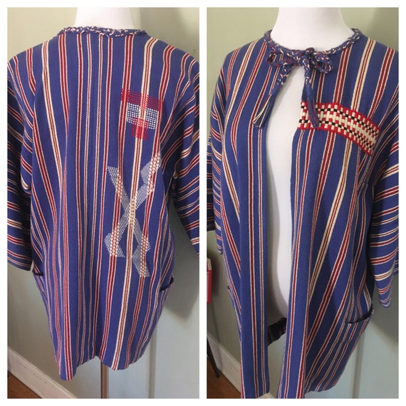 Vintage Amazing Native American Hand Woven Red White and Blue Jacket with Large Pockets and Tassle Tie Neckline-M L