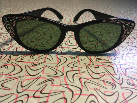 1950s Glamour Black Sunglasses with Decorative Pink and Silver Sides with Rhinestones
