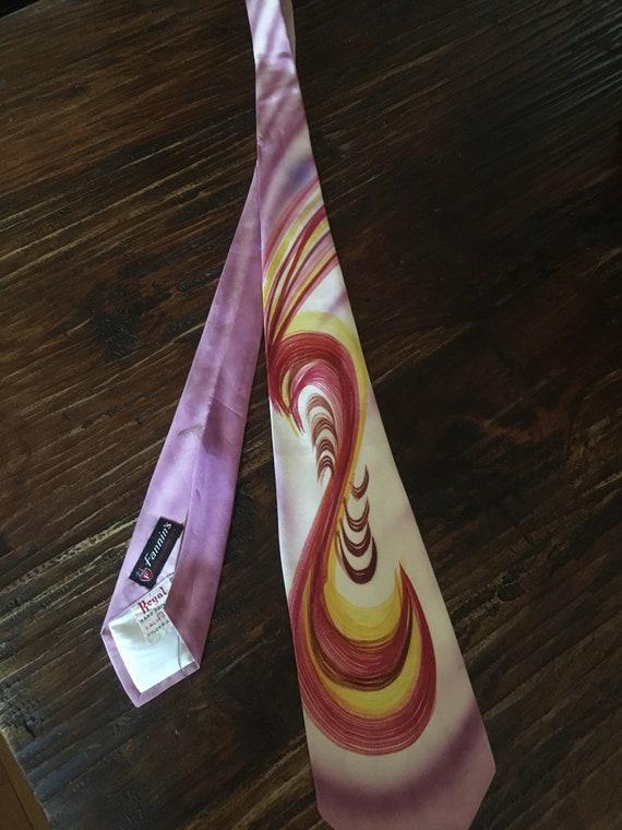 1940s Stunning Regal Hand Painted in California Swirl Wide Tie